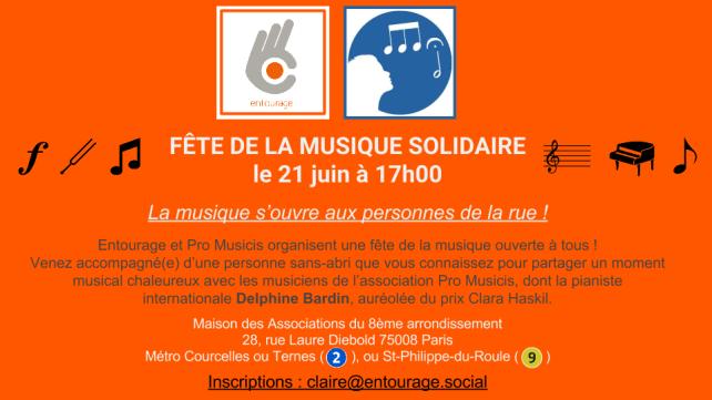 Fête de la musique solidaire ouverte aux personnes de la rue !